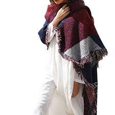 Miss Lulu <b>Ladies</b> Girls Knitted Plaid Soft <b>Scarf</b> Blanket <b>Winter Warm</b> ...