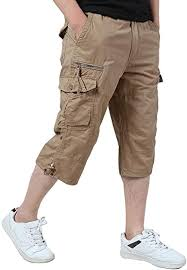 KEFITEVD <b>Men's Casual</b> Twill Elastic 3/4 Cargo Shorts <b>Loose Fit</b> ...