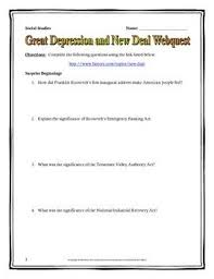 depression student and the ojays on pinterest great depression and roosevelts new deal   webquest with key