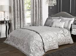 Silver Curtains For Bedroom Details About Marston Damask Duvet Cover Embossed Floral Motif