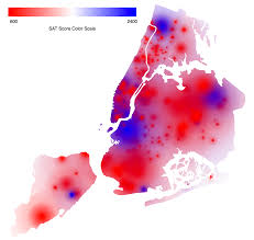 heat map of sat scores in nyc oc dataisbeautiful