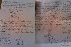 Creepy      geometry homework assignment references serial killer Ted          Creepy      geometry homework assignment references serial killer Ted Bundy  peeping Tom