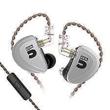 kz as10 headphones 5 balanced armature driver in ear earphone hifi bass monitor earbuds with 2pin cable zs10 ba10