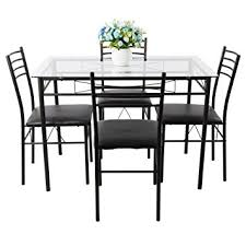 4 chair kitchen table: dining table set vecelo pc glass table and  chair sets metal kitchen room furniture