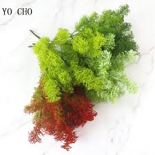 2019 YO CHO Artificial Flowers <b>7 Fork</b> Green Leaves Imitation ...
