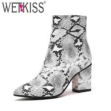 34-42 <b>WETKISS</b> Print Snake Pu <b>Women Ankle</b> Boots Zip Pointed ...