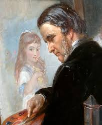 Edward Matthew Ward (1816 – 1879, English) - self-portrait-while-working-on-the-portrait-of-one-of-his-daughters