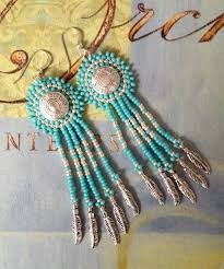Dangle Earrings - Turquoise and <b>Silver Seed Bead</b> Feather Fringe ...