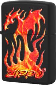 29735 <b>Зажигалка Zippo</b> Flaming <b>Dragon Design</b>, Black Matte