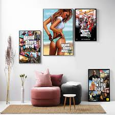 <b>GTA 5 Game Vintage</b> Canvas Art Print Painting Poster Wall Pictures ...