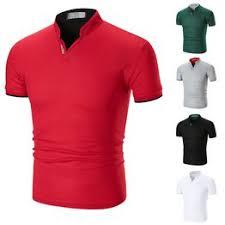 Summer new men's solid color cuff stripe stand collar half ... - Vova