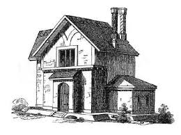 Olde English Cottage House Plans in the Victorian Era English Cottage Dwelling of Two Stories for a Man and his Wife   Servant and Two or Three Children    a Cow house and Pigsty