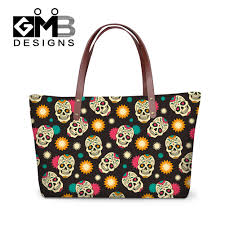 2016 high quality designer handbag personalized skull printing handbags for women office party lady waterproof thick cheap office spaces
