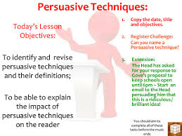 outstanding english lesson on persuasive technique by missrathor    persuasive techniques outstanding lesson pptx