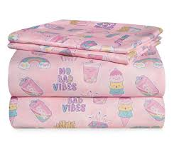 """Dream Street """"No Bad <b>Vibes</b>"""" Pink Twin <b>3</b>-<b>Piece</b> Sheet Set   Big Lots"""