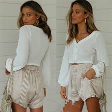 Fashion New <b>Summer</b> Shorts Women Striped Casual High Waist ...