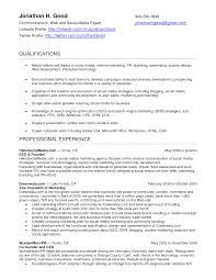 social media marketing resume sample mission 4 media social
