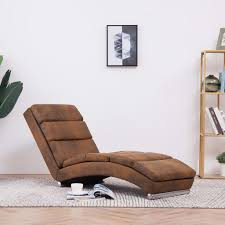 <b>Chaise Longue Brown Faux</b> Suede Leather - Furniturre