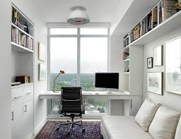 one bedford condo suite small scandinavian study room idea in toronto with white walls and a bedroom small home office
