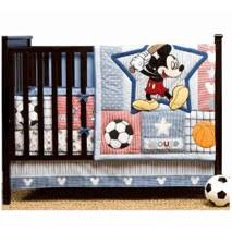 decorate the nursery with mickey up to bat 4 piece crib bedding set and youll get both mickey mouse theme and sports theme in a classic design baby mickey crib set design