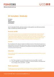 fishjobs cv template for graduates