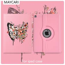 Ipad 2 3 4 Leather 360° Rotatable Back Case Funny Butterfly Cover ...