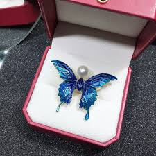 <b>ZHBORUINI 2019</b> Real Natural Pearl Brooch Blue Enamel Butterfly ...