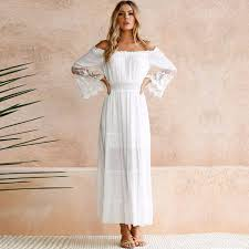 2019 <b>Summer Sundress Long Women</b> White Beach Dress Strapless ...