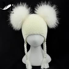 Online Shop Kids <b>Real Fur Pom Pom Hat</b> Baby Winter Crochet ...