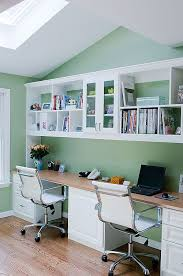 appealing and great home office storage ideas with double desk with wooden materials white desk chair wooden floor lamination wall white organized shelves charming office craft home wall storage