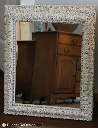previously gold mirror turned shabby chic with annie sloans old white chalk paint antique dresser framed leaning mirror shabby chic