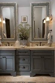 country bathroom colors: french country bathroom gray washed cabinets mirrors with painted frames chippy paint