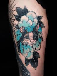Tattoo uploaded by Tattoodo | Cat <b>Peony</b> tattoo by <b>Maria</b> Dolg ...