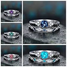 Rings For Wome <b>2Pcs</b>/<b>Set</b> 2019 <b>Luxury</b> Green Blue Stone Crystal ...