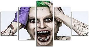 AtfArt <b>5 Piece</b> Jared Leto Joker suicide squad print <b>canvas</b> poster ...