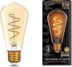<b>Лампочка Gauss</b> Black LED <b>Filament ST64</b> E27 6W, Теплый свет 6 ...