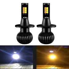 <b>1 Pair Dual Color</b> 1300LM 160W H3 H8 H11 LED Fog Light Bulbs ...