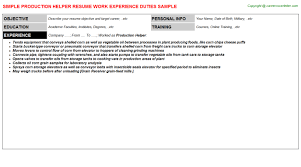 Production Helper Resume