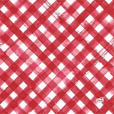 <b>Салфетки бумажные</b>, <b>3-х</b> слойные, Red Checks, Duni, 24 см, 20 шт