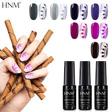HNM <b>7Pcs</b>/<b>Set</b> 7ML Pure <b>Color</b> Line Nail <b>Gel Nail</b> Polish Stamping ...