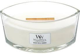 WoodWick Hearthwick Flame Ellipse Candle <b>White Tea</b> & Jasmine ...
