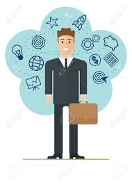 young businessman making plans career achievement success career achievement success in business competition cartoon flat vector illustration objects isolated on a background