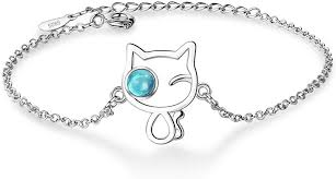 <b>Lucky Cat Bracelet</b> Cat Eye Blue Crystal <b>Bangle</b> Wrist <b>Bracelet</b> Cute ...