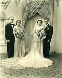 Beautiful 1940s/<b>50s Vintage wedding</b> photo with <b>bride</b> in satin ...