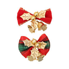 Red <b>Xmas Bowknot</b> Bell DIY <b>Christmas Tree Garland</b> Rattan Gift Box ...
