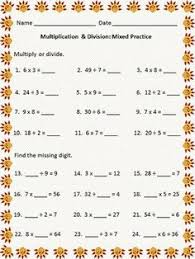 """Division and Worksheets on PinterestThanksgiving themed worksheet, multiplication facts quotients up to 12 mixed multiplication/division problems and 12 """"find the missing digit"""" problems."""