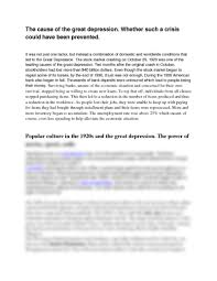 essay questions docx history 1302 ritchie at houston the cause of the great depression whether such a crisis could have been prevented it was not just one factor but instead a combination of domestic and