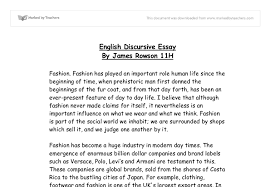 fashion   english discursive essay   gcse miscellaneous   marked  document image preview