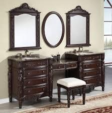 inspiration bathroom vanity chairs: artistic twin mirror edge on pastel wall paint above vanity stool for bathroom with nice stool on interesting rug motive on amusing floor pattern