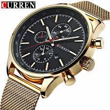 CURREN <b>Men's</b> Quartz <b>Watches Fashion Casual</b> Full Steel Sports ...
